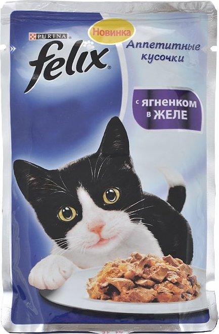 Корм для кошек Felix Аппетитные кусочки с ягненком в желе