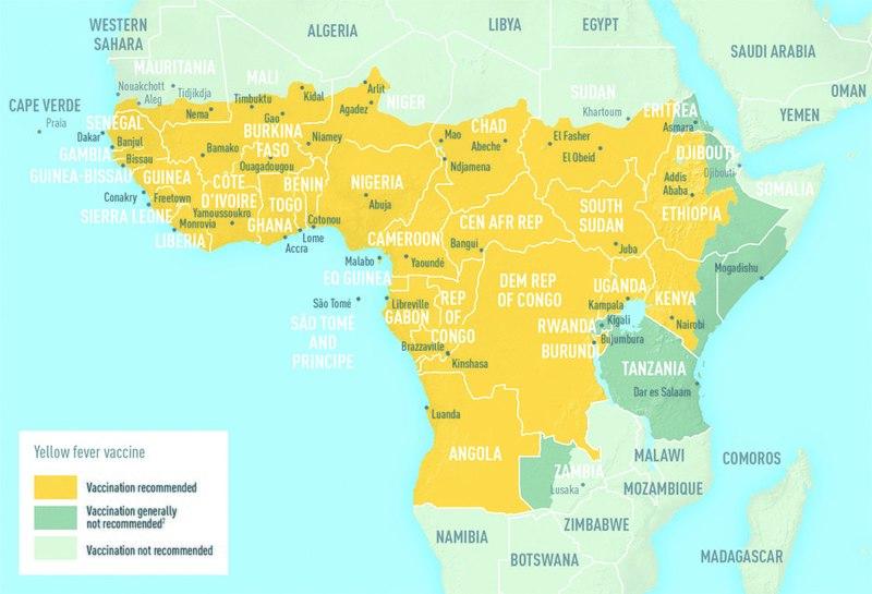 Эндемичные районы Африки